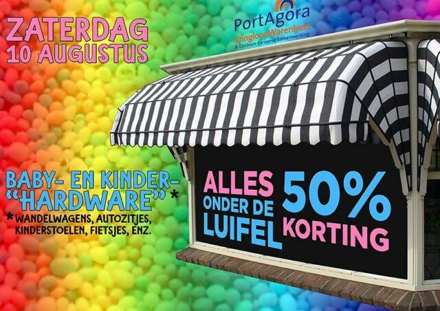 PORTAGORA LET OP DE KLEINTJES  Alwéér wat 'onder de luifel' bij PortAgora: zaterdag 10 augustus worden alle baby- en kinderspullen onder de luifel met 50% KORTING verkocht! (Aanstaande) vaders, moeders, opa's, oma's, tantes en ooms: kom d'r maar in!  #PortAgora #KringloopWarenhuis #CentrumEuropeseSamenwerking #kringloop #kringloopwinkel #tweedehands #korting #aanbieding #actie #reclame #goedkoop #Tilburg #TilburgCentrum #KoningspleinTilburg #recycle #reuse #thriftshop #socialeprojecten #goededoelen #baby #kind #kinderen #kids #buggy #knderstoelen #wandelwagens #autozitjes #maxicosy #50%