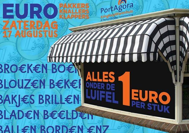 ALLES ONDER DE LUIFEL, zaterdag 17 augustus €uro-pakkers, -knallers, -klappers... hoe je het ook wil noemen, wij hebben het! Zaterdag 17 augustus: álles-onder-de-luifel €1! Een ratj€to€ aan artikelen, dus er zit altijd wel iets bij wat jij meepakt voor slechts €€n €uro! Klap 'r maar op, knal er maar uit!  #PortAgora #KringloopWarenhuis #CentrumEuropeseSamenwerking #kringloop #kringloopwinkel #tweedehands #onderdeluifel #korting #luifel #markt #aanbieding #actie #zaterdag #reclame #goedkoop #Tilburg #TilburgCentrum #KoningspleinTilburg #recycle #reuse #thriftshop #socialeprojecten #goededoelen #studenten #€1 #Euro #Euroknaller #Euroklapper #Europakker #ratjetoe
