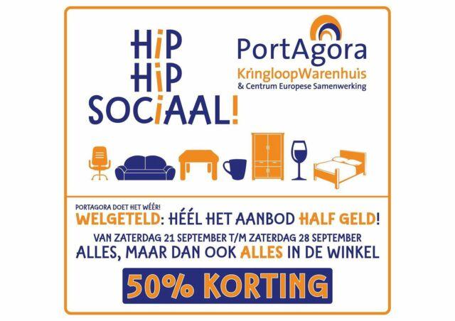 """HEEL het aanbod HALF geld!  Van 21 t/m 28 september is het weer grote uitverkoop bij PortAgora. """"HEEL het aanbod HALF geld"""" luidt de slogan komende week. Van theeglas tot tweepersoonsbed, van truien tot tuingereedschap, van trommels tot tafelkleden... op álle artikelen wordt een week lang 50% korting gegeven! Wat een goed begin van de herfst!  #PortAgora #KringloopWarenhuis #CentrumEuropeseSamenwerking #kringloop #kringloopwinkel #tweedehands #korting #markt #aanbieding #actie #reclame #goedkoop #Tilburg #TilburgCentrum #KoningspleinTilburg #recycle #reuse #thriftshop #socialeprojecten #goededoelen #50%korting #50% #halfgeld #uitverkoop #slajeslag"""